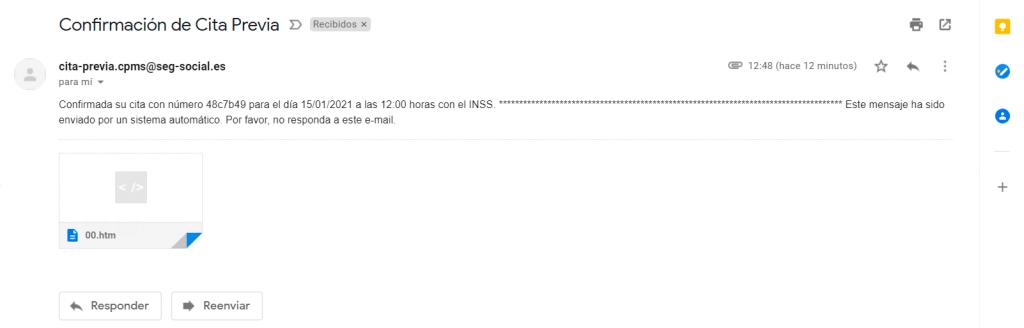 confirmación cita previa seguridad social email